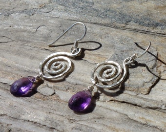 Amethyst Spiral Earrings ~ Sterling Silver, Wirewrapped, Hammered, Handcrafted, Genuine Gemstone, Gypsy, Boho, Unique Dangle Earrings
