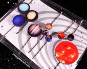 Planet Hair Pin Barrettes//Moon Jewelry//Solar System Jewelry//Hair Accessories//Gift Idea