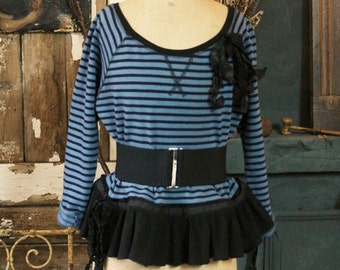 French Blue Sweatshirt Striped Cotton Jersey Black Ruffled Frilled Peplum Casual Slouch Top Funky Edgy Edwardian Circus Style UK Size 10/14
