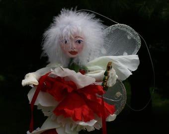 Flower Fairy Doll, Flower Fairy Art Doll, Pixie, Woodland Fairy, Wedding Favor Fairy. Christmas Fairy