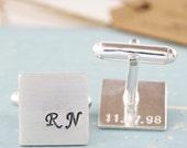 Monogram Cufflinks - secret message cufflinks, custom cufflinks, wedding cufflinks, initial cufflinks personalised cufflinks sterling silver