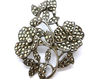 Vintage Art Deco sterling silver marcasite brooch c1930s flower floral bouquet pin Birthday Anniversary gift