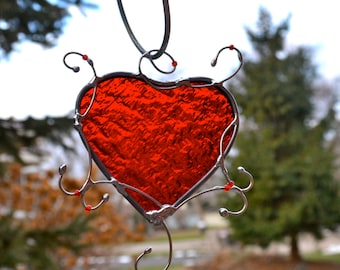 Crazy About You Red Heart Stained Glass Heart Victorian Valentine Suncatcher