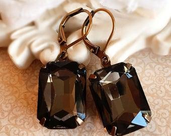 Art Deco Earrings - Black -  Victorian Jewelry - Crystal - WINDSOR Black Diamond