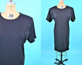 1980s t-shirt dress   short sleeve chest pocket black tshirt minimalist dress   vintage 80s dress   M/L