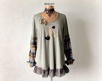 Army Green Tunic Faux Layers Women's Rustic Shirt Casual Clothing UpCycled T-Shirt Plaid Sleeves Mori Girl Clothes Art Fashion XL 1X 'JESSIE