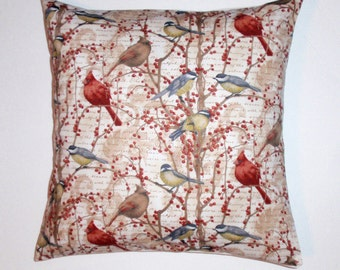 """Throw Pillow Cover, Decorative Throw Pillow Cover, Cardinals in Winter Cushion Cover, Seasonal Winter Songbirds Pillow Cover, 16x16"""" Square"""