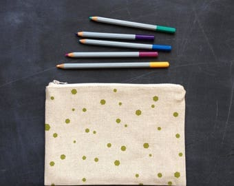 apple hexadots hand printed linen zip pouch