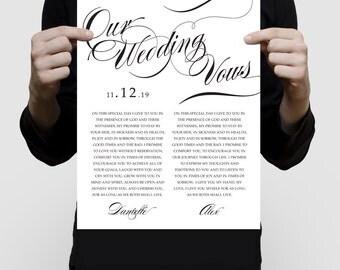 customised wedding vow art - personalised print 1st anniversary gift paper, Valentine's Day wedding keepsake, 1 year anniversary song lyrics
