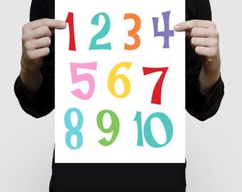 colourful numbers print 1 - 10 poster nursery art, rainbow bright fun, educational art for kids, kids wall art count to ten, childrens print