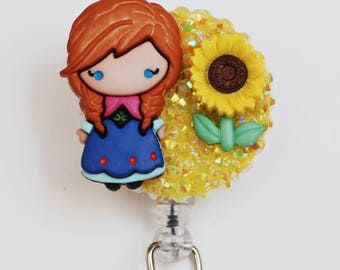 Spring Time Anna From Frozen ID Badge Reel - Retractable ID Badge Holder - Zipperedheart