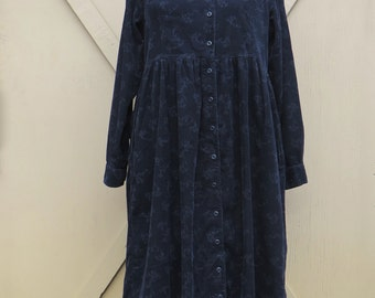 90s vintage L.L. Bean Midnight Blue Long Floral Print Corduroy Dress