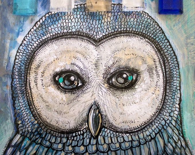 Featured listing image: Wood Owl Miniature Painting by Lynnette Shelley