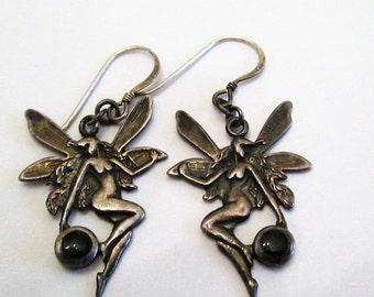 EARRINGS - Vintage - FAIRIES - Enamel  -  DETAILED  - Pierced - Sterling Silver earrings385