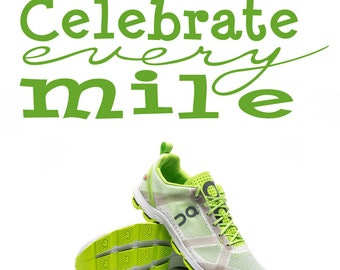 Runner Decal, Celebrate Every Mile vinyl wall decal, fitness decal,  gym decor, milestones motivation encouragement