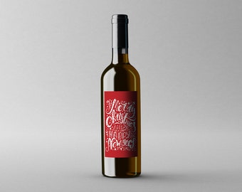 PRINTABLE Merry Christmas Happy New Year Winter DIY Wine Bottle Gift Tag Gift Wrap Decoration Red White