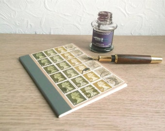 Olive Green Postage Stamp Notebook | Retro Upcycled Writing Journal, lined A6 kraft | recycled British stamps | hipster mailart stationery