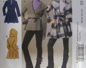 Easy Women's Plus Size Lined Jacket, McCall's M6442 Sewing Pattern, Semi-Fitted Belted Wrap Coat, High Fashion Jacket, Plus Size 14 - 20