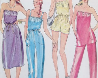 Misses' Strapless Jumpsuit, Sundress or Tunic Butterick 3742 Fast & Easy Sewing Pattern, Tapered Pants, Knit Fabrics Only Size 12 - 14 UNCUT