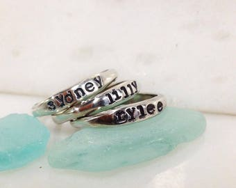 Custom Stackable Name Ring Made to Order with Your Kid's Names Perfect for Mother's Day in Brass or Sterling Silver Organic in Shape