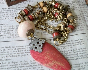 Assemblage recycle necklace - Boho style - Metal and porcelain beads - Red wooden pendant - Bohemian jewelry - One of a Kind - bycat
