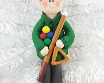 Handmade Pool Player Christmas Ornament - Billiards Christmas Ornament - Polymer Clay Pool Player - Handmade Gift for Pool Player - 365