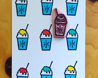 snow cone rubber stamp. shaved ice cup stamp. japanese hand carved stamp. summer festival crafts. holiday card making. birthday scrapbooking