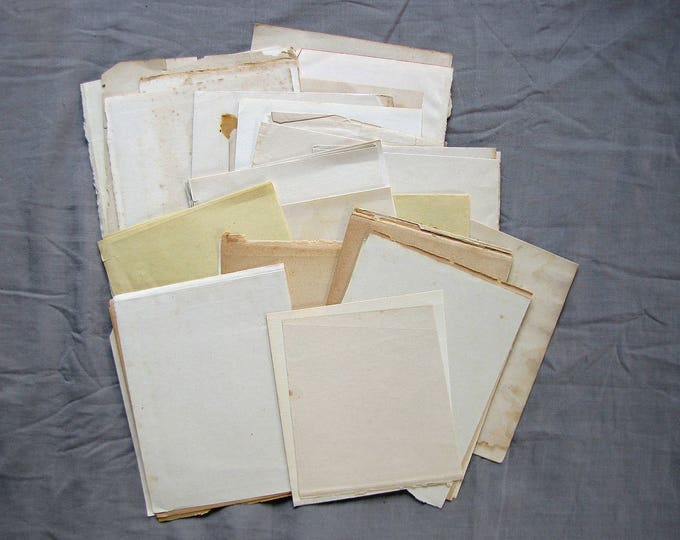 vintage blank scrap paper ephemera - small mixed pack of aged book pages - card making supply