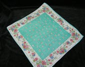 "Vintage 1940's 12"" Pink, Blue, Turquoise Mixed Floral Wedding, Bridesmaid Handkerchief, Pocket Square or Doily, 9832"
