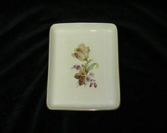 Vintage Danmark Porcelain Denmark Flower Dresser Trinket Pin Holder Tray