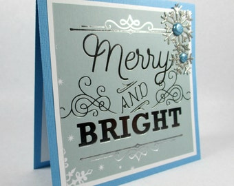 Christmas cards, holiday cards, winter snowflakes, elegant Christmas cards, silver foiled, merry and bright