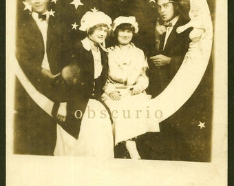 Paper Moon - Young Men & Women with Man in the Moon - Cigar/Feathers - Vintage 1910s RPPC