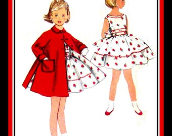 Vintage 1956-RICK-RACK DELIGHT-Girl's Sewing Pattern-Flirty& Fun Twirl Dress-Matching A-Line Lined Swing Coat-Patch Pockets-Size 6-Rare