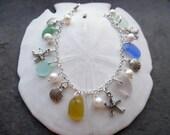 Sea Glass Charm Bracelet Beach Glass Jewelry Silver Starfish Sea Shell Blue Yellow