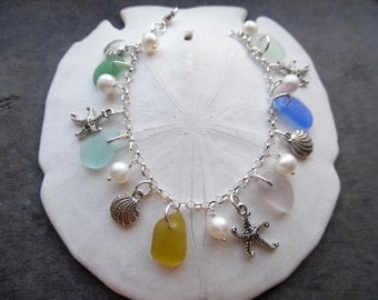Sea Glass Charm Bracelet Beach Glass Jewelry Silver Starfish Sea Shell Blue Yellow