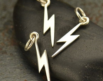 Silver Lightening Bolt Charm, 925 Sterling Celestial Pendant, 16.5x3.5mm, Select Your Quantity