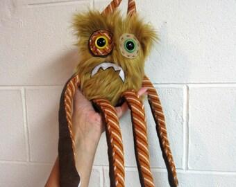 Nervous Monster Plush - Handmade Plush Monster - Tan Brown Faux Fur Monster - OOAK Monster Doll - Hand Embroidered Monster Toy - Weird Plush
