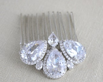 Bridal hair comb, Crystal hair comb, Wedding hair comb, Wedding hair accessories, Swarovski hair comb, Bridal hair pins, Rose gold HARPER