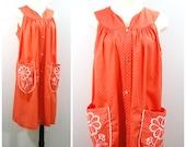 Vintage House Dress, Salmon Pink Cotton Dress, Swiss Dot Embroidered Smock Dress, Light Weight Summer Dress Size L