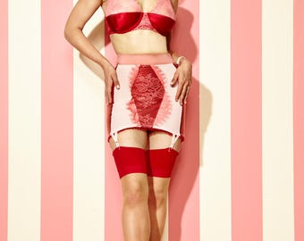 Strawberry Cake Girdle Skirt with Pink Lace and Red Silk