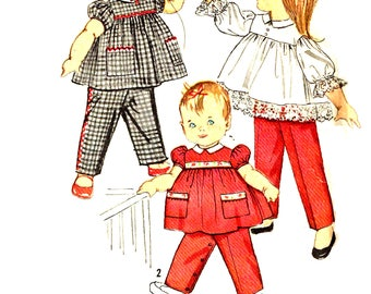 Vintage 1960s Toddler Top and Pants Jumper Sewing Pattern, Simplicity 3725 Boys and Girls Child Size 1 Cut Pieces