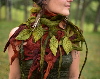 Felt Tree Roots Cowl-Goddess Nymph Forest Shawl-Neck Warmer-Leaves And Vines Neck Piece-Burning Man-Festival Wear-leaf shawl-Felt Leaf OOAK
