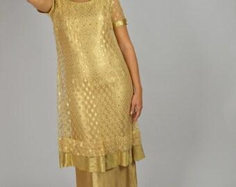 Vintage 50s Long Dress, Gold Lame Dress, Prom Dress, 50s Long Dress, Gold Dress, Tea Length Dress, Hollywood Glam, 1950s Dresses,