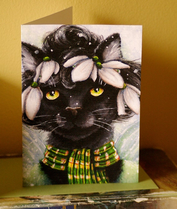 Black Cat Card, Snowdrop Flower Fairy Cat Fantasy Art, 5x7 Blank Greeting Card