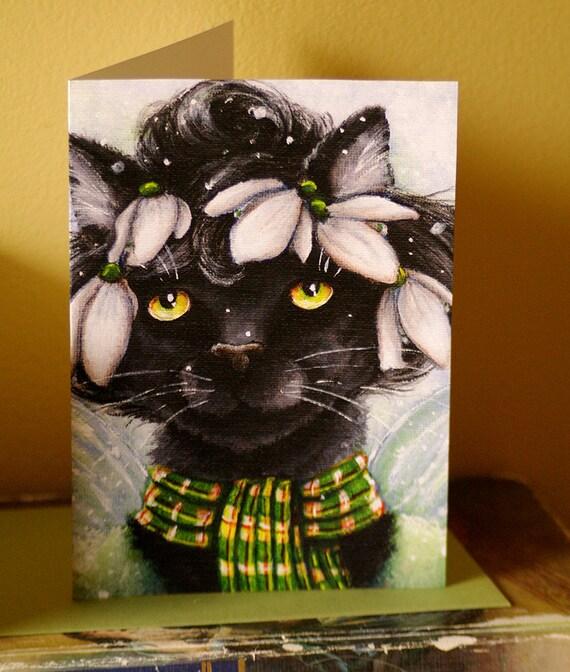 Black Cat Card, Snowdrop Flower Fairy Cat Fantasy Art, 5x7 Blank Greeting Card