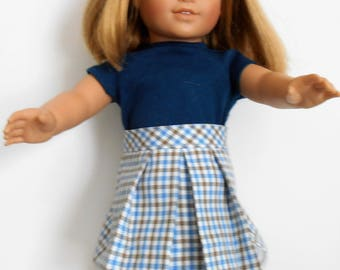 Blue and tan checkered pleated skirt and knit navy top fit American Girl