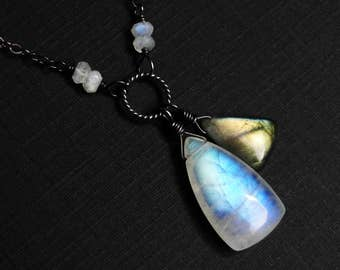 Rainbow Moonstone Necklace, Labradorite Necklace, Oxidized Sterling Silver - Twin Treasures by CircesHouse on Etsy