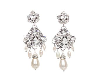 Wedding Chandelier Earrings , Long Bridal Crystal Earrings, Bridal Statement Earrings ,Crystal Pearl Swarovski Drop Earrings