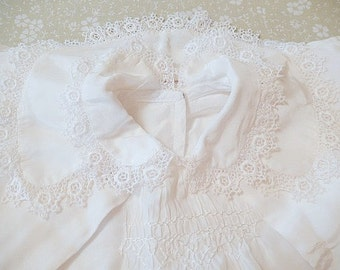 Christening/Baptism outfit, baby boy, 3pc, 1940s vintage, satin and lace, smocking, hand made, children's clothes