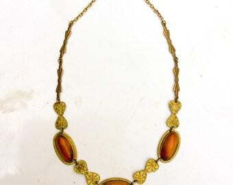 Deco carnelian Necklace. Art Glass Jewelry. Art Deco. Art Nouveau. Choker. Costume Jewelry. Original. True Vintage LA eb